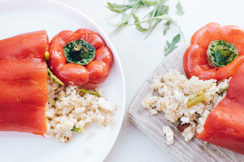 Stuffed risotto red peppers are a great way to use up leftovers.