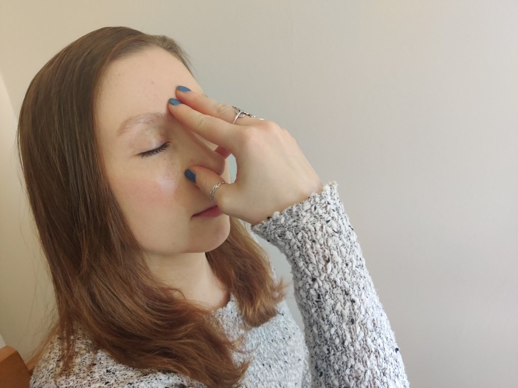 Alternate nostril breathing helps to calm and focus your mind.