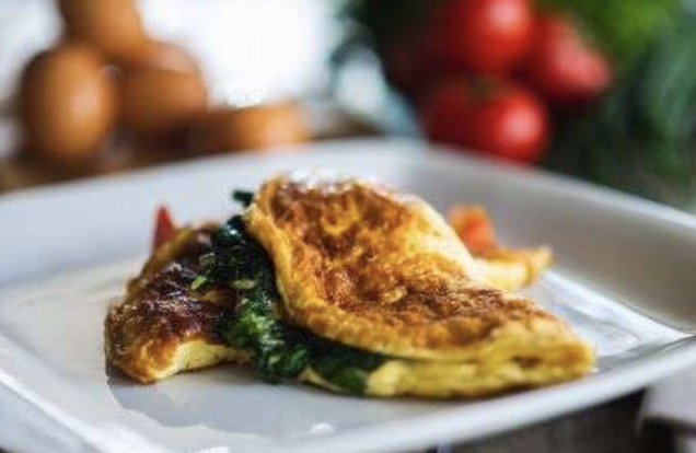 A spinach omelette is extremely nutrient-dense.