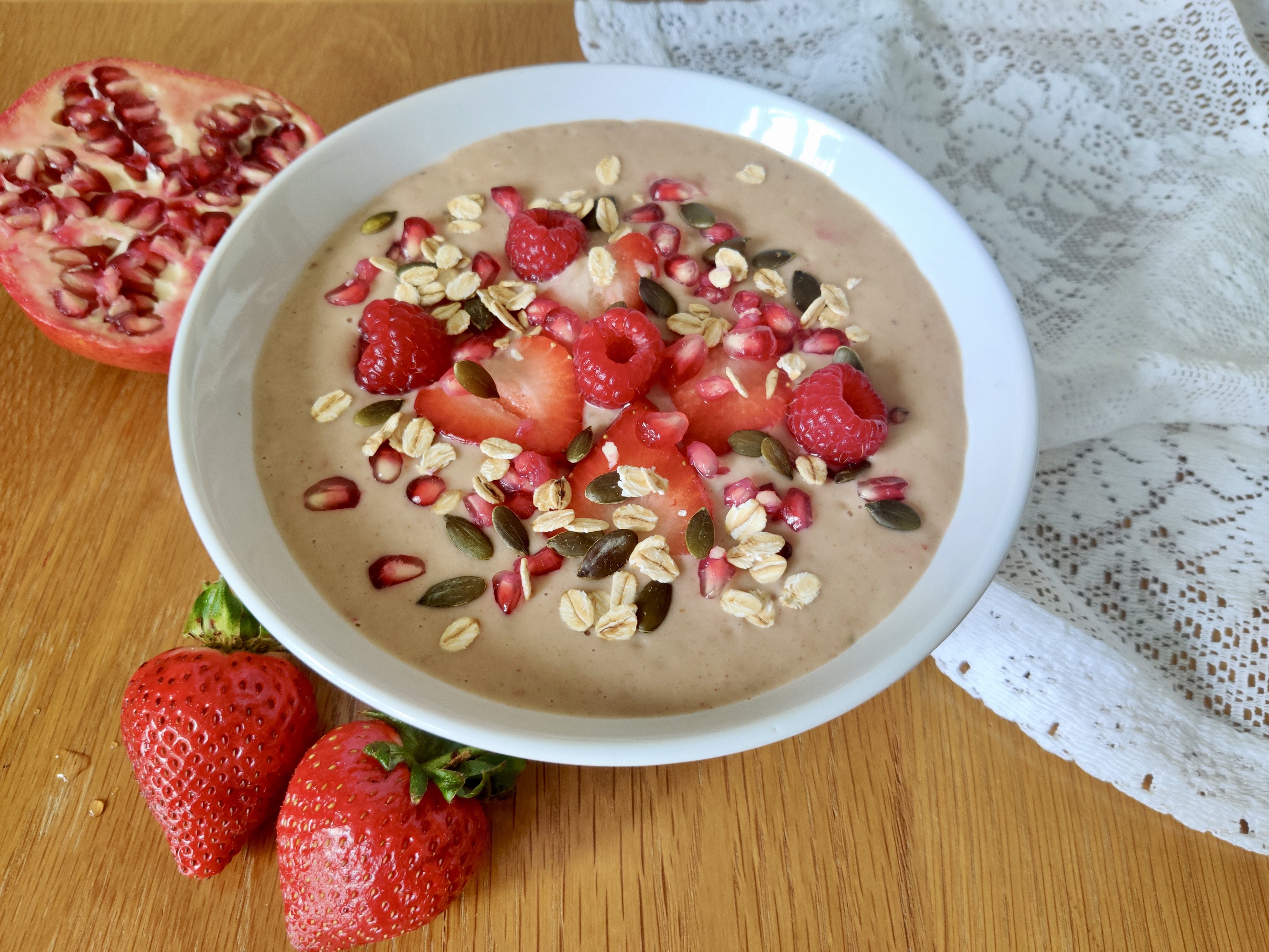 This strawberry smoothie bowl offers a refreshing way to wake up in warm weather.