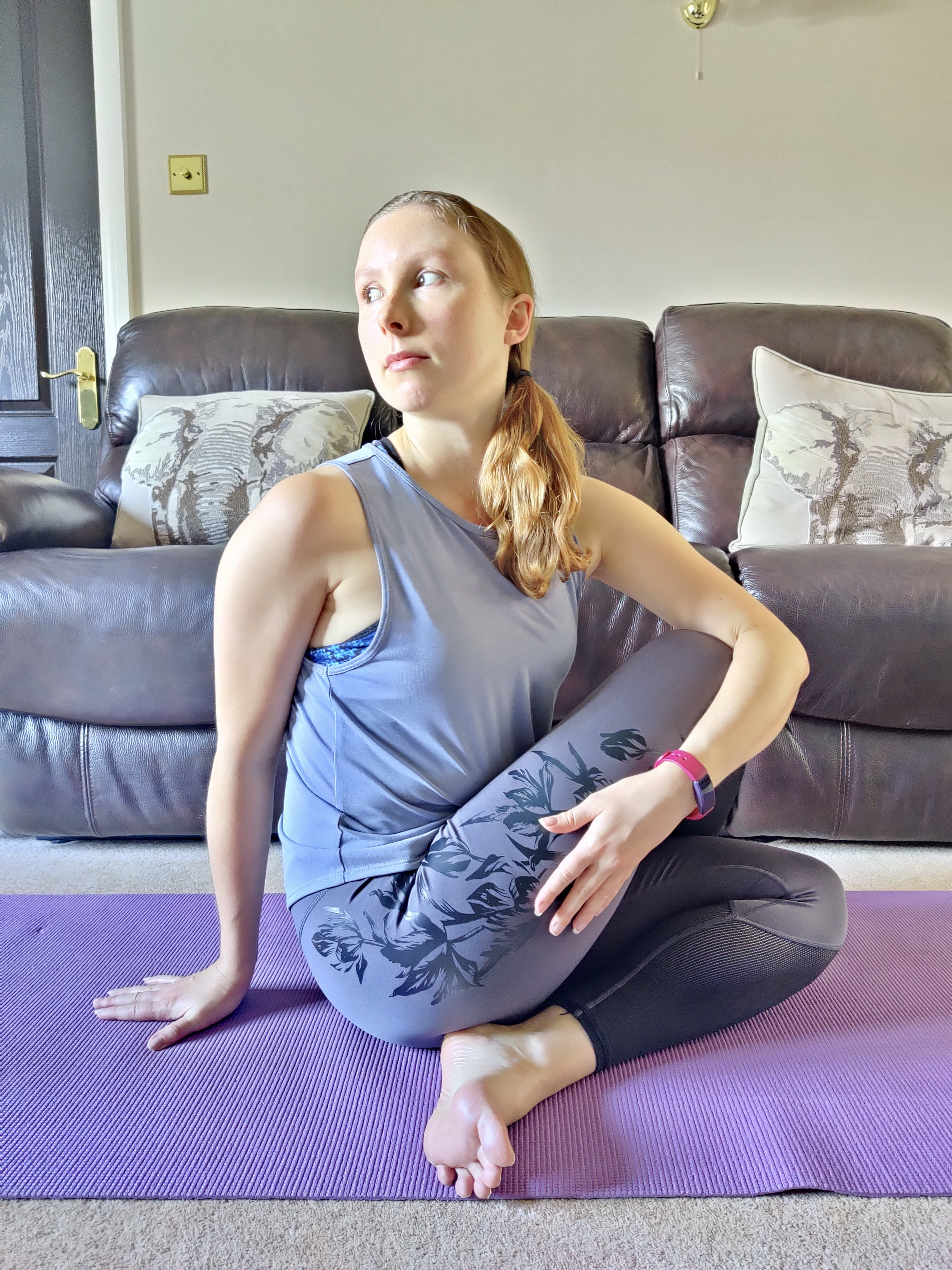 Half Lord of the Fishes Pose is great for detoxification and relieving constipation.