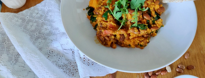 This pinto bean, quinoa and turmeric curry is a warming bowl of goodness for your gut.