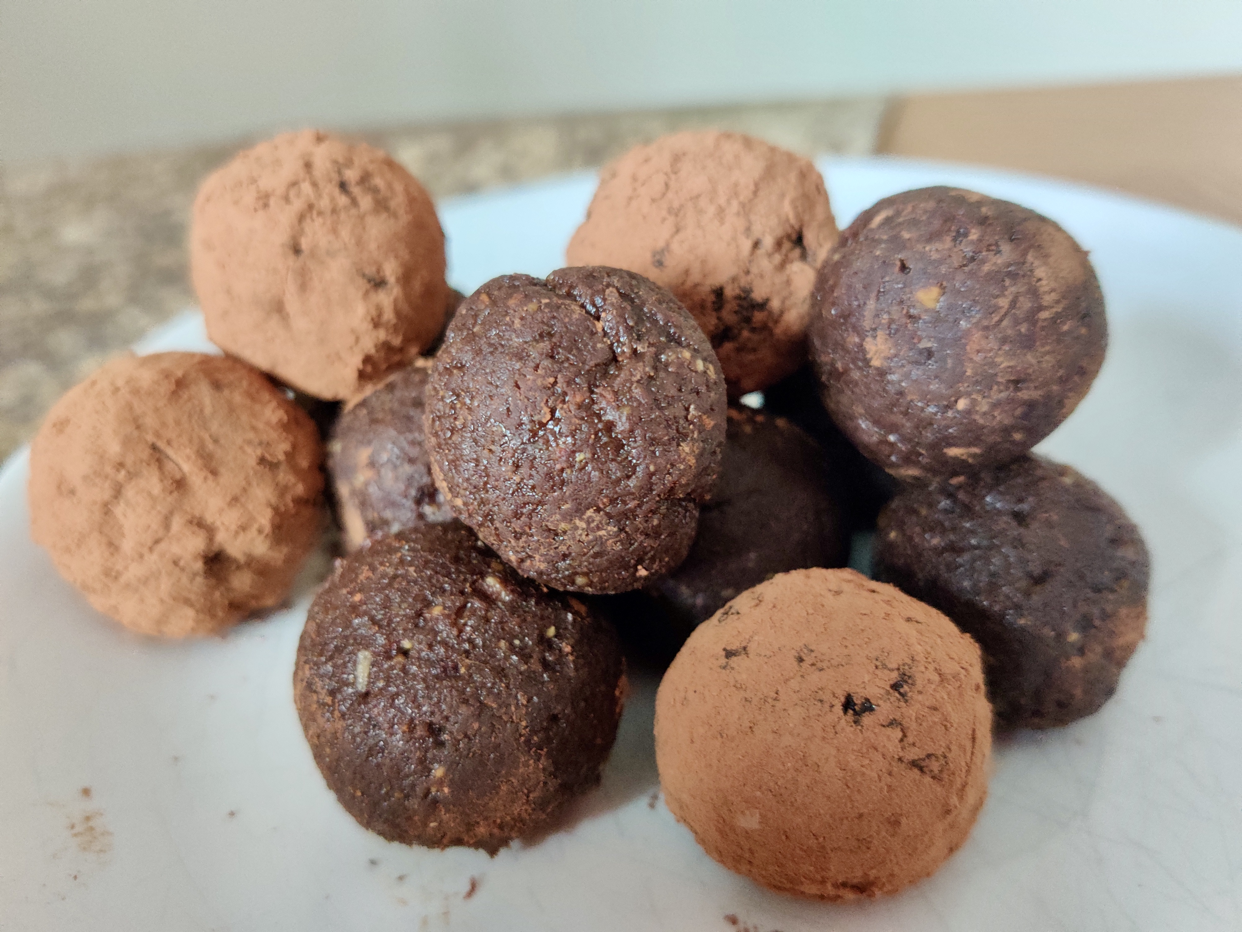 Pistachio and chocolate energy balls are quick to make and encourage